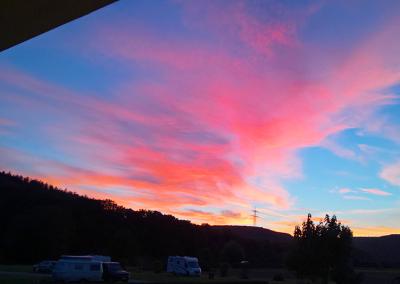 Sonnenuntergang-Campingplatz-Cimbria